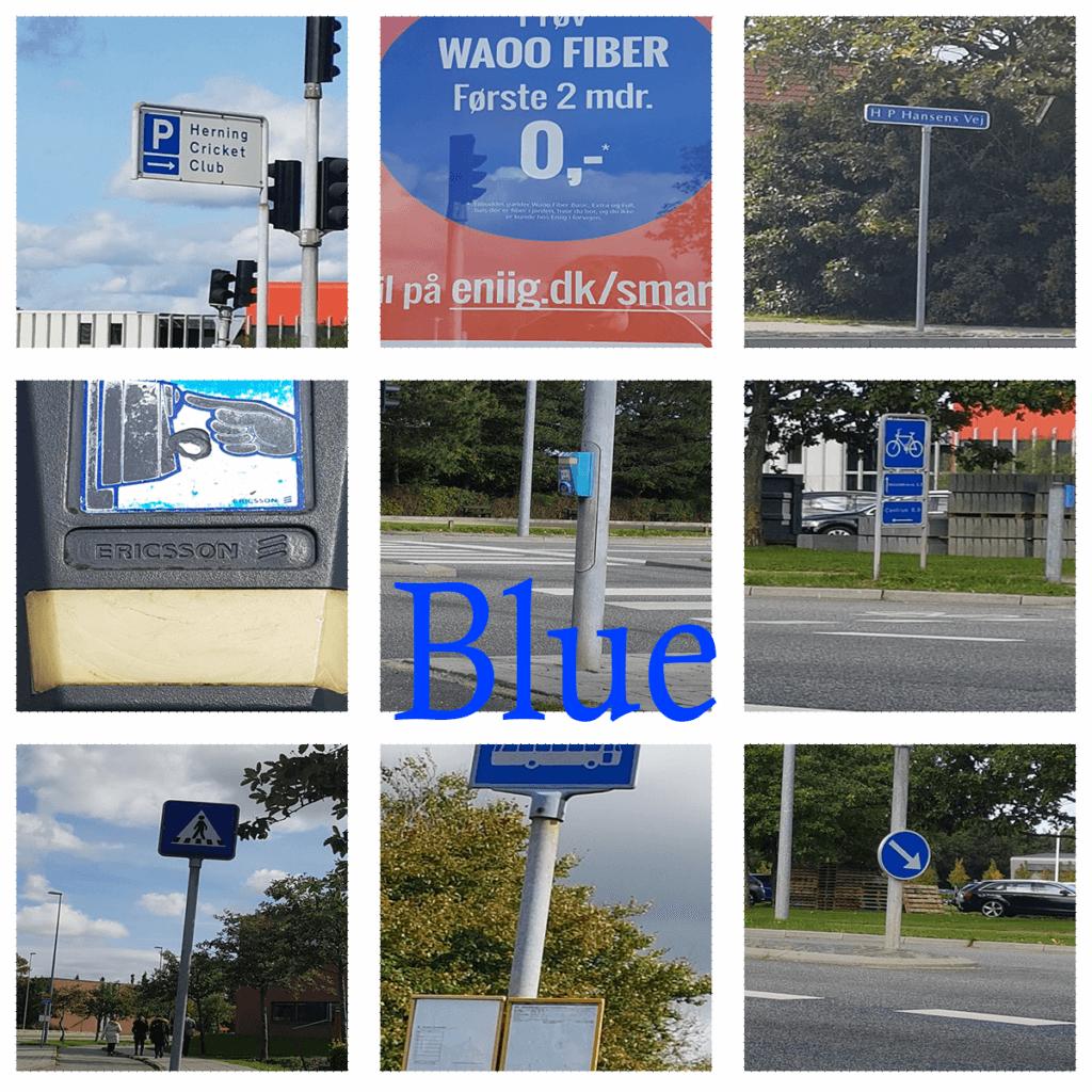 Blå collage