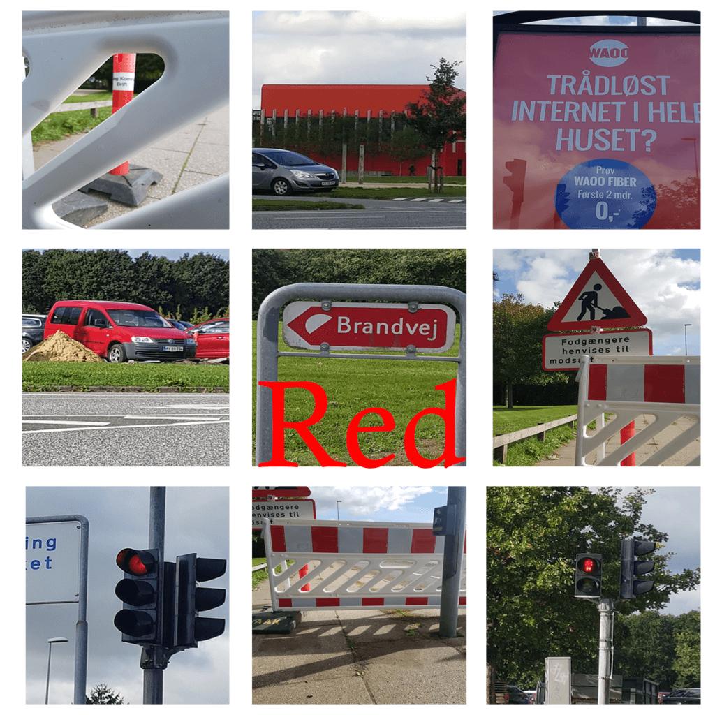Rød collage